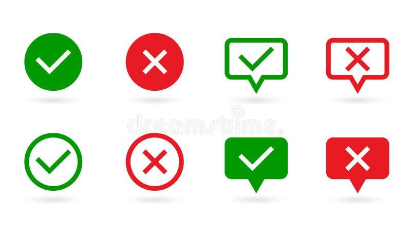 Uppsättning för kontrollfläckar Den gröna fästingen och Röda korset i anförande bubblar och cirklar form JA eller INGET symbol Be royaltyfri illustrationer
