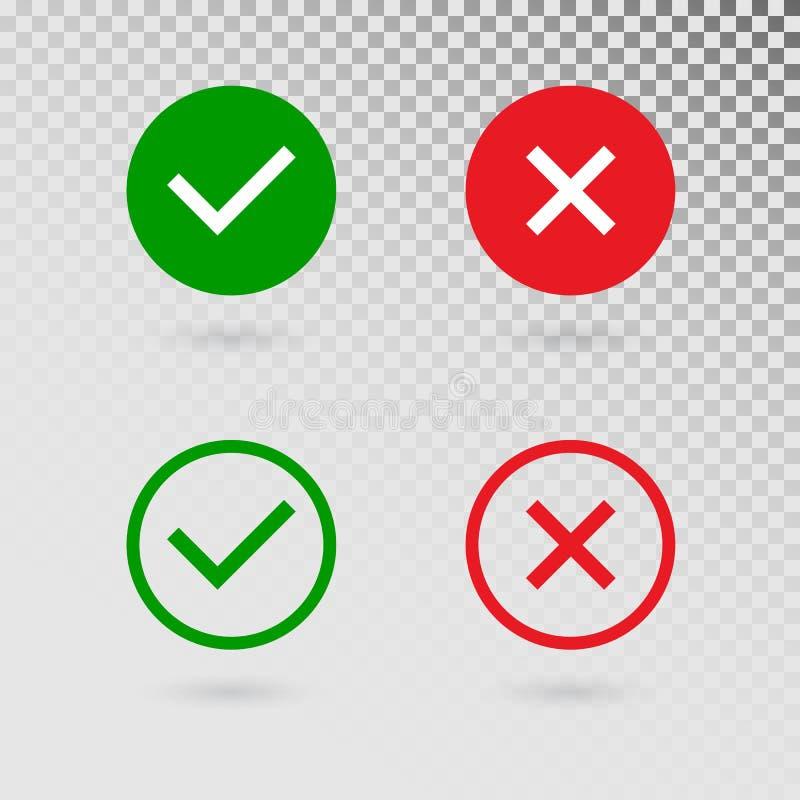 Uppsättning för kontrollfläckar på genomskinlig bakgrund Grön fästing och Röda korset i cirkelformer JA eller INGET acceptera och vektor illustrationer