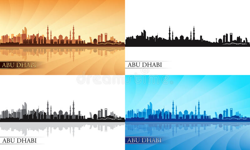 Uppsättning för kontur för Abu Dhabi stadshorisont vektor illustrationer