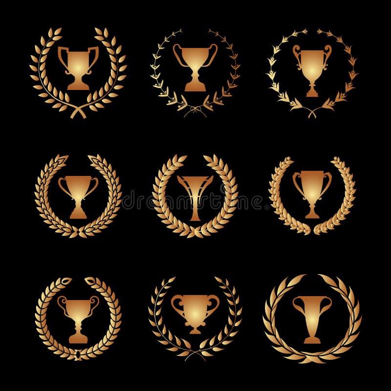 Uppsättning för kontur för vinnaretrofékopp med bladig för runt lager royaltyfri illustrationer