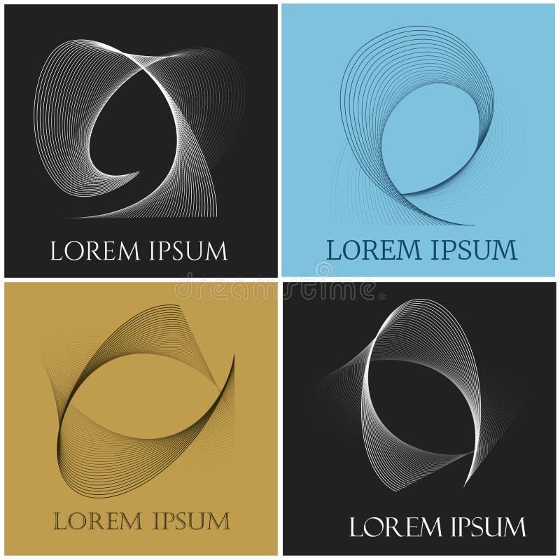Uppsättning för konturdiagramemblem stock illustrationer
