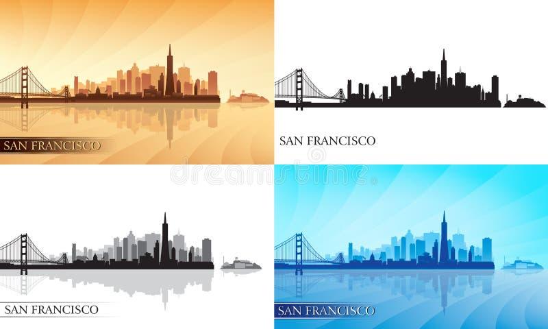 Uppsättning för konturer för San Francisco stadshorisont royaltyfri illustrationer