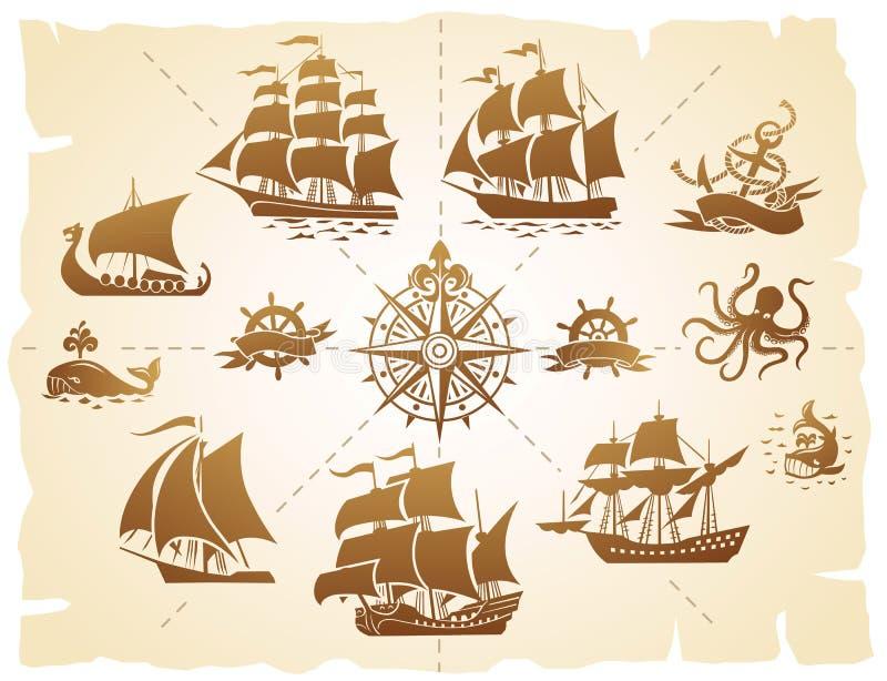 Uppsättning för konturer för seglingskepp stock illustrationer