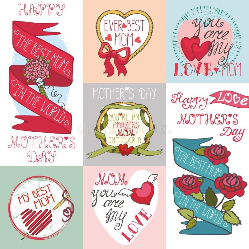 Uppsättning för kort för moderdag Etiketter dekorbeståndsdelar stock illustrationer