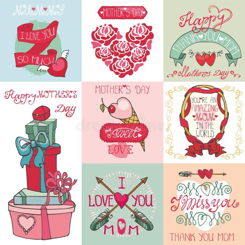 Uppsättning för kort för moderdag Etiketter hjärtor, dekor vektor illustrationer