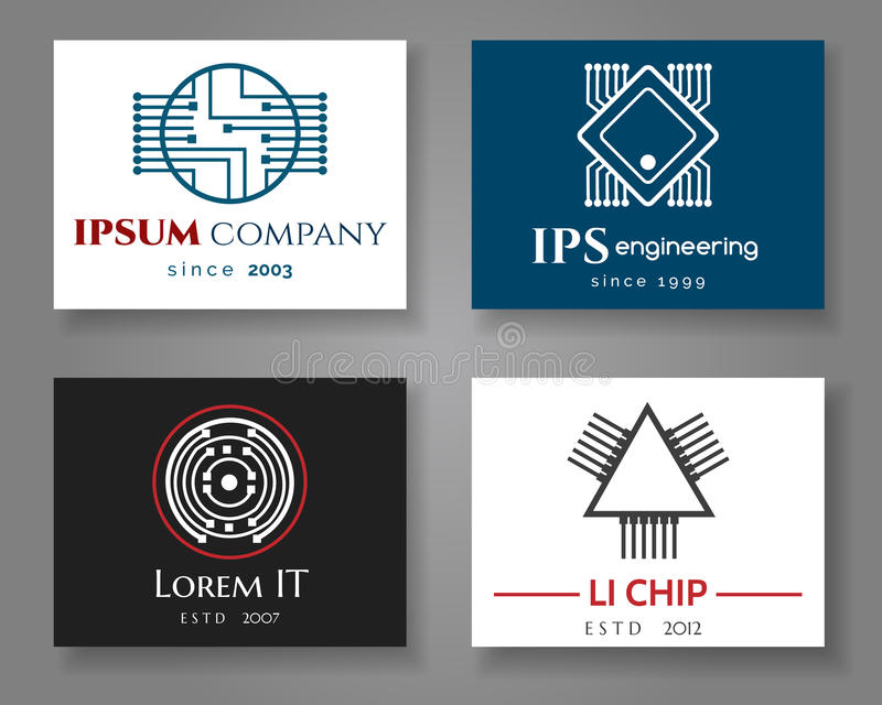 Uppsättning för kort för IT- och tekniklogoföretag Kort för vektoraffärsetikett med chiper royaltyfri illustrationer