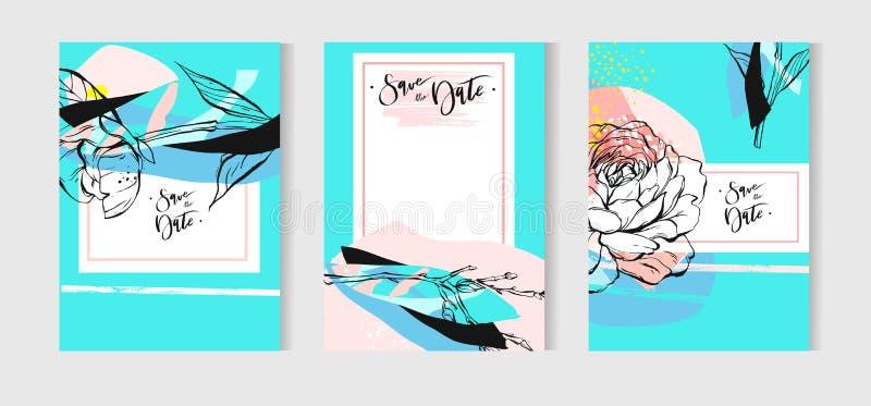 Uppsättning för kort för vektorbröllopinbjudan med blom- bakgrund i tiffany blått- och vitfärger Mallbröllopinbjudan royaltyfri illustrationer