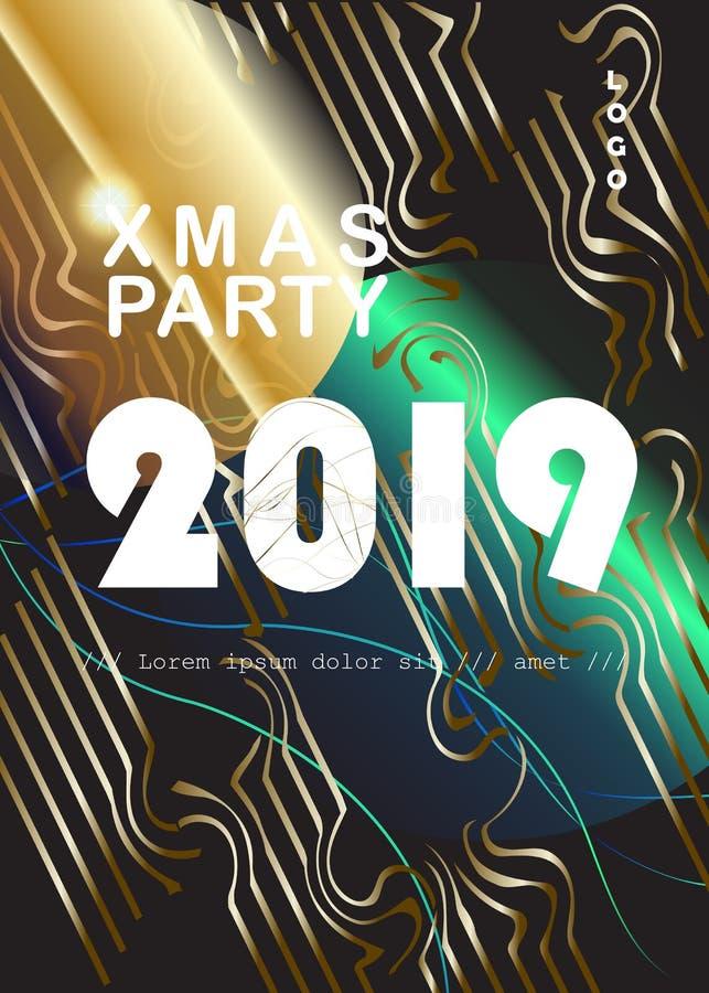 Uppsättning för KORT för garnering för lyx för händelse för 2019 för vinterferie jul för lyckligt nytt år guld- stock illustrationer