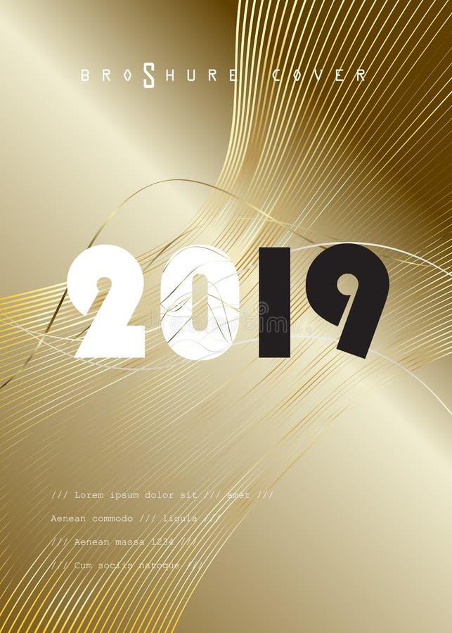 Uppsättning för KORT för garnering för lyx för händelse för 2019 för vinterferie jul för lyckligt nytt år guld- royaltyfri illustrationer
