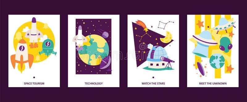 Uppsättning för kort för utrymmevetenskap Flyga raket Utrymmeturism Technoogy Håll ögonen på stjärnorna Möt uknownen Satelliter t vektor illustrationer