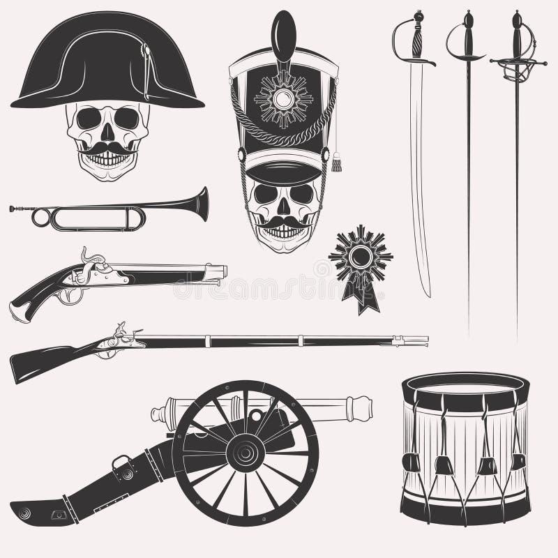 Uppsättning för krig 1812 stock illustrationer