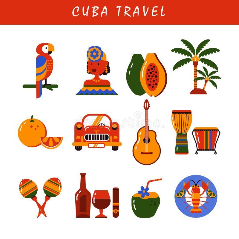 Uppsättning för Kubahavannacigarrsymboler vektor illustrationer