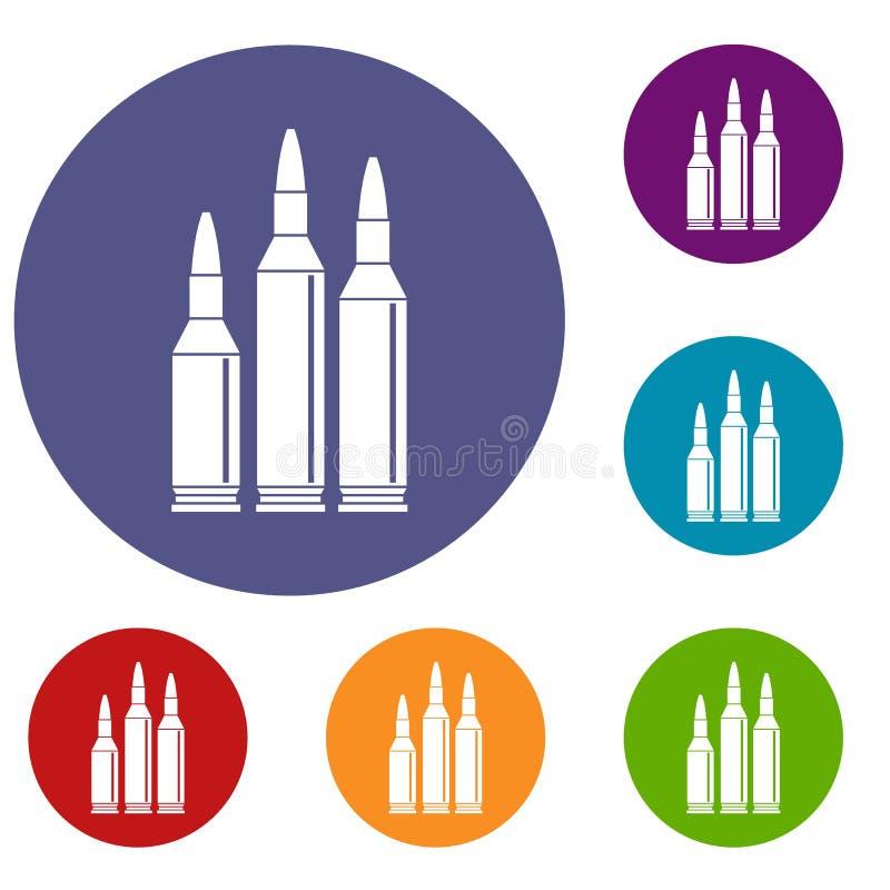 Uppsättning för kulammunitionsymboler royaltyfri illustrationer