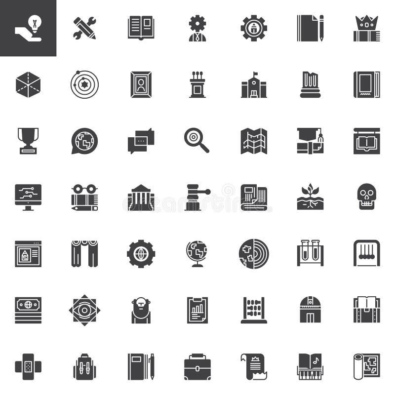 Uppsättning för kunskapsvektorsymboler royaltyfri illustrationer