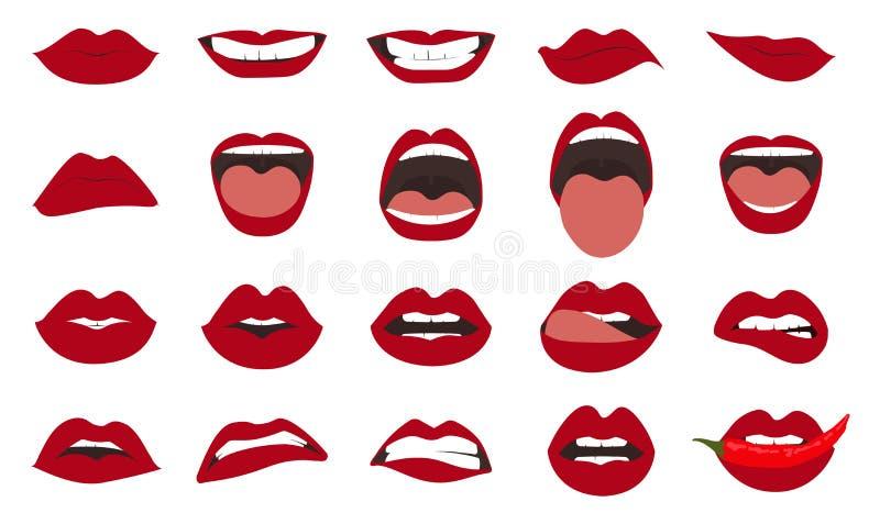 Uppsättning för kvinnakantgester Flickan skvallrar tätt upp med röd läppstiftmakeup som uttrycker olika sinnesrörelser Vektor Eps stock illustrationer