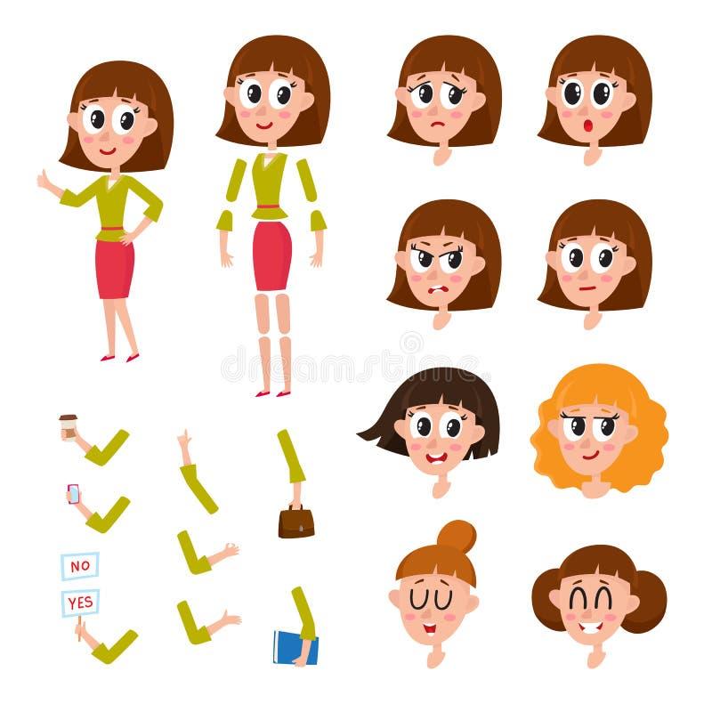 Uppsättning för kvinnateckenskapelse med olika framsidor, frisyr, händer, sinnesrörelser stock illustrationer