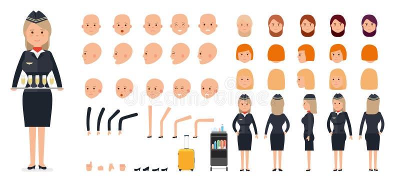 Uppsättning för kvinnateckenskapelse Stewardessen, flygvärdinna vektor illustrationer