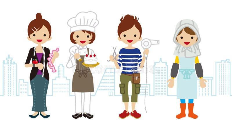 Uppsättning för kvinnlig arbetare - Townscape bakgrund stock illustrationer