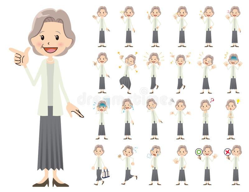 Uppsättning för kvinnligt tecken Olikt poserar och sinnesrörelser royaltyfri illustrationer