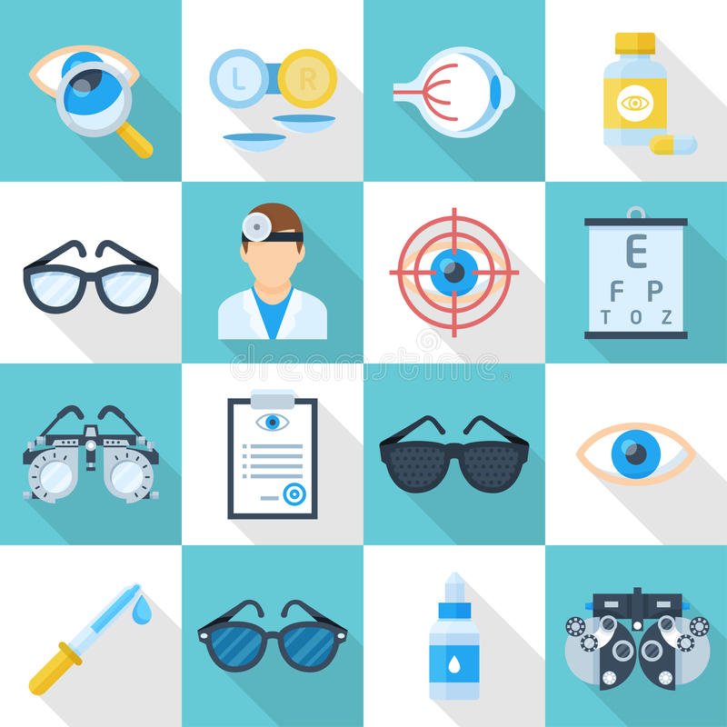 Uppsättning för lägenhet för ögonläkaretecknad filmsymbol royaltyfri illustrationer