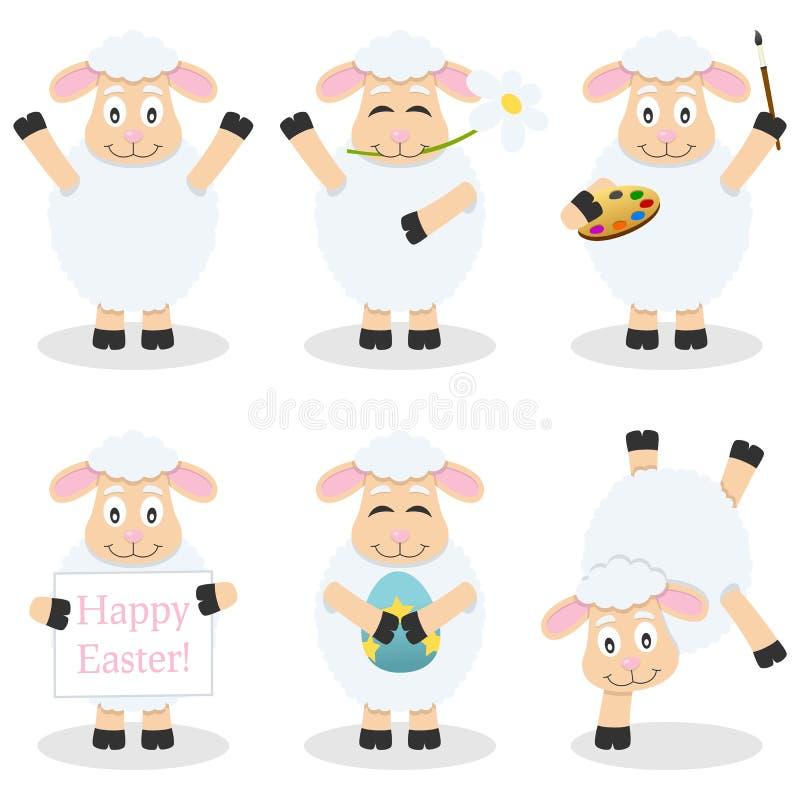 Uppsättning för lamm för tecknad filmpåsk rolig stock illustrationer