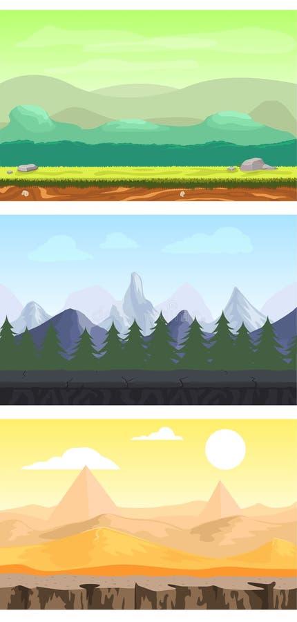Uppsättning för landskap för modig design för fantasi vektor illustrationer