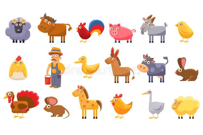 Uppsättning för lantgårddjur, manliga bonde-, boskap- och husdjurtecknad filmvektorillustrationer på en vit bakgrund stock illustrationer