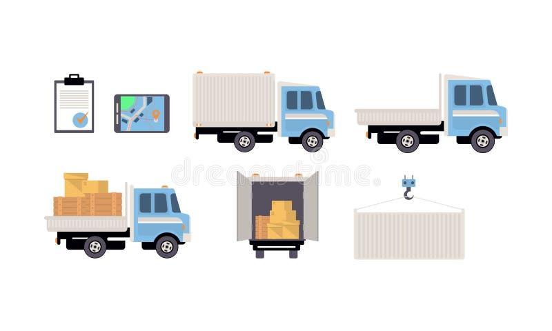 Uppsättning för lasttransport, frakttrans., logistikvektorillustration på en vit bakgrund stock illustrationer
