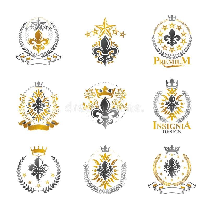 Uppsättning för Lily Flowers Royal symbolemblem Heraldisk vapensköld de royaltyfri illustrationer