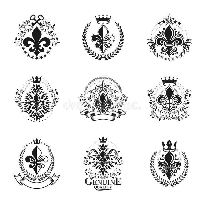 Uppsättning för Lily Flowers Royal symbolemblem Heraldiska isolerad vektor för vapensköld dekorativa logoer royaltyfri illustrationer