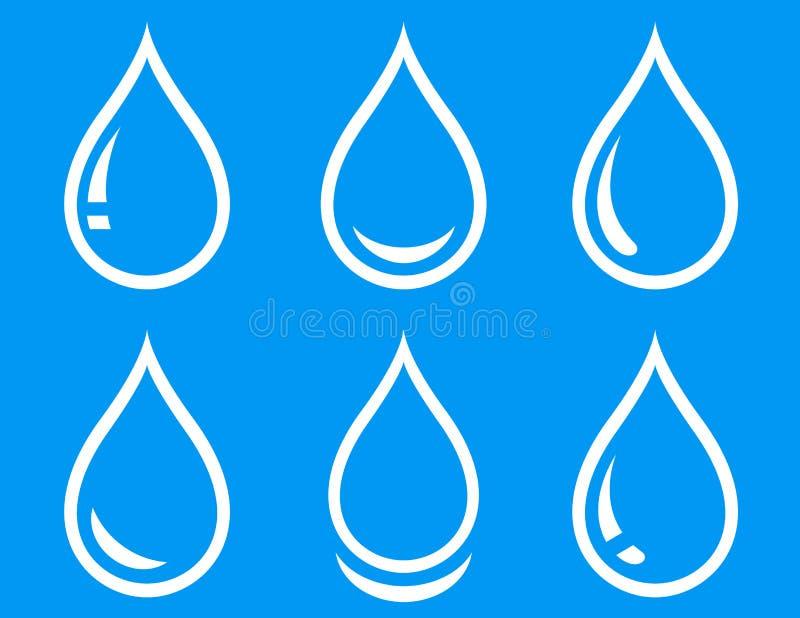 Uppsättning för liten droppe för blått vatten vektor illustrationer