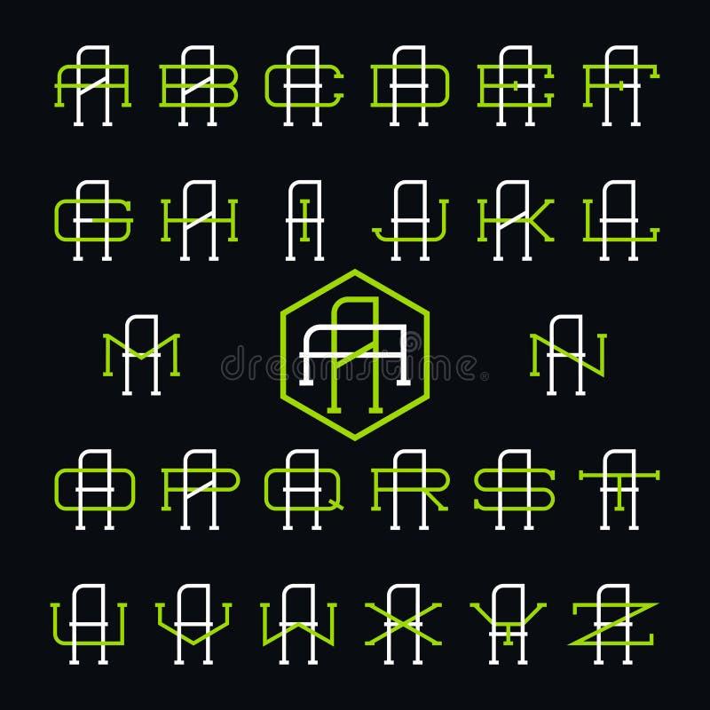 Uppsättning för logo för högskolasportlag Två tunna bokstäver stock illustrationer