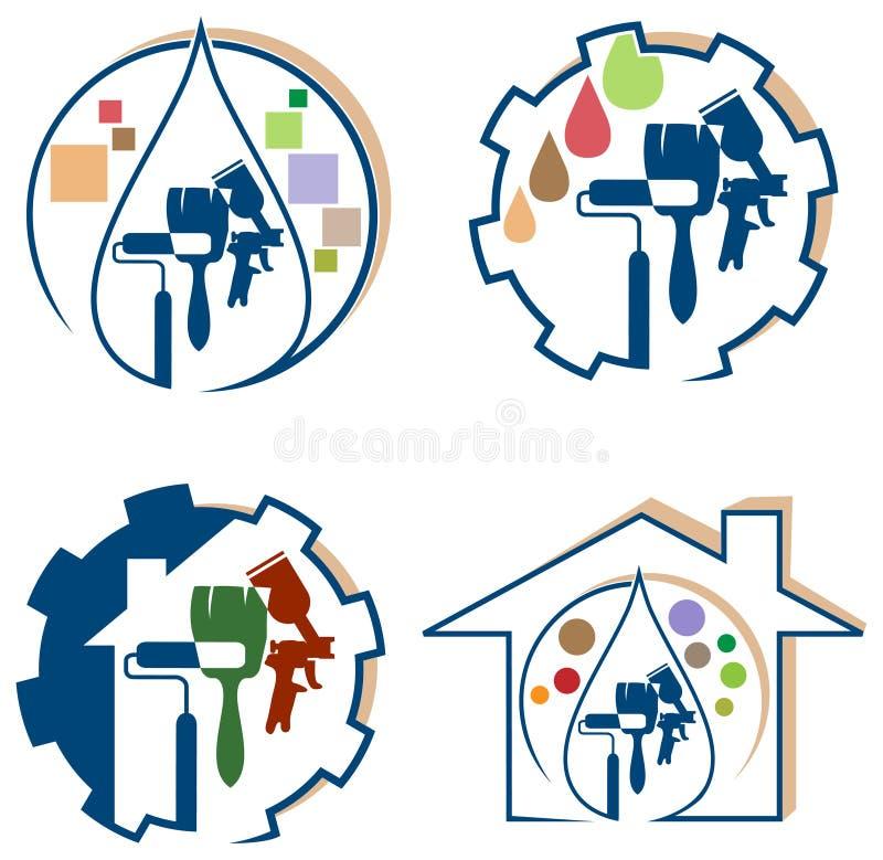 Uppsättning för logo för husmålning royaltyfri illustrationer