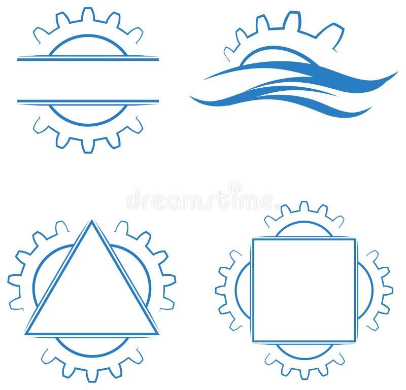 Uppsättning för logo för kugghjulhjul royaltyfri illustrationer