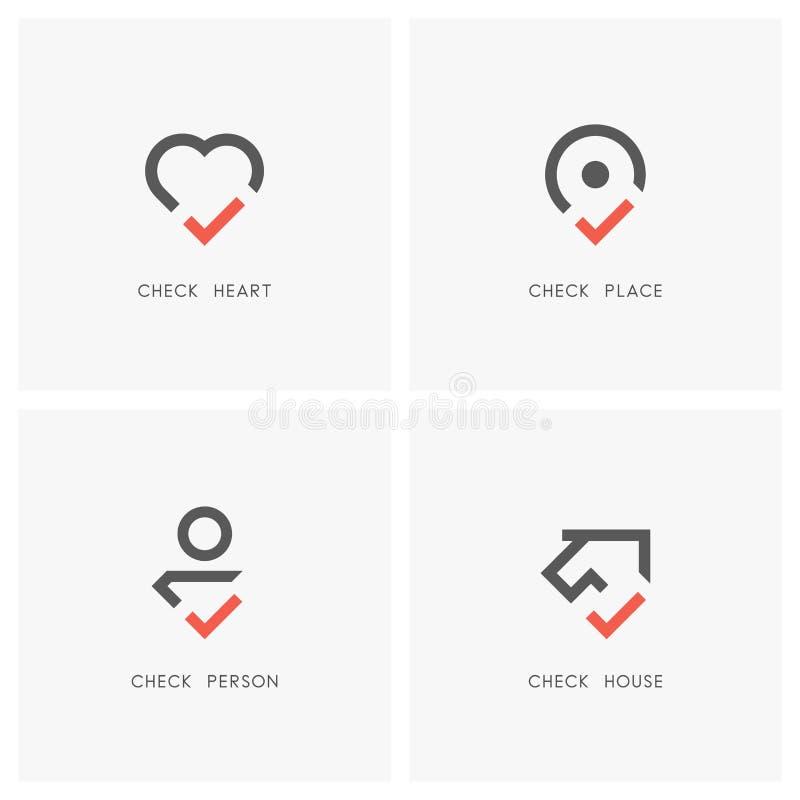Uppsättning 01 för logo för kontrollfläck stock illustrationer