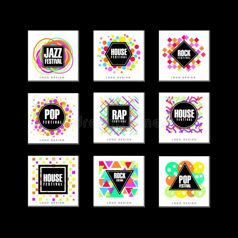 Uppsättning för logo för musikfestival, klassiker, hus, pop, rap, illustrationer för vektor för beståndsdel för design för jazzmu vektor illustrationer