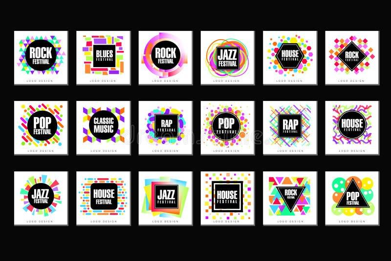 Uppsättning för logo för musikfestival, klassiker, hus, pop, rap, illustrationer för vektor för beståndsdel för design för jazzmu royaltyfri illustrationer