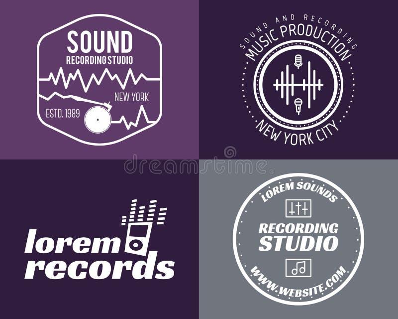 Uppsättning för logoer för studio för vektormusikproduktion musikal royaltyfri illustrationer