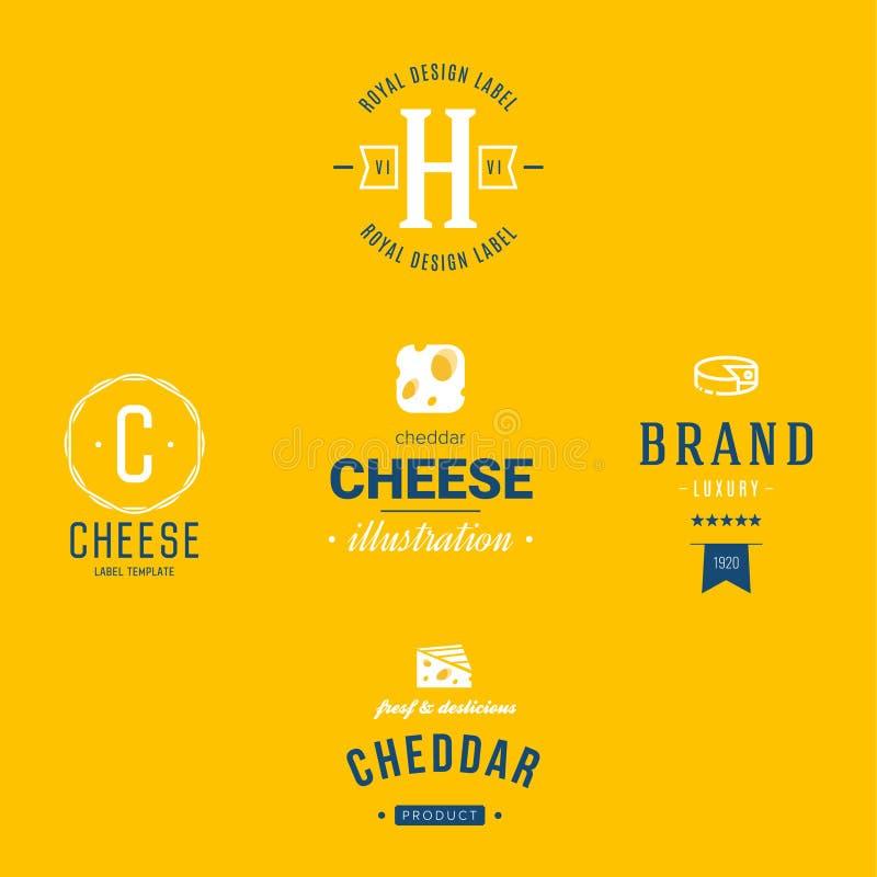 Uppsättning för logoer för ostvektormejeriprodukter stock illustrationer