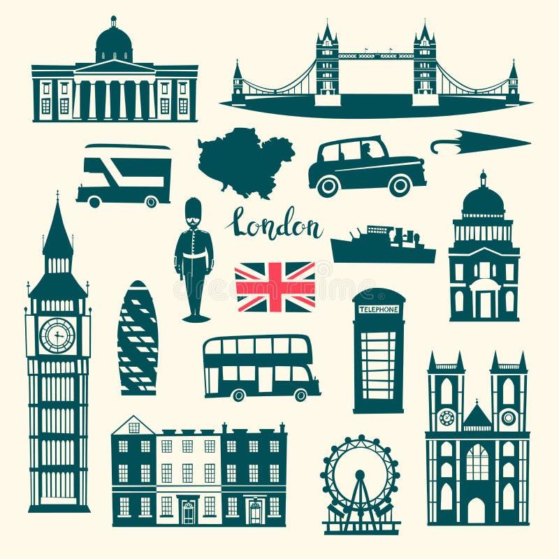 Uppsättning för London vektorillustration Kontur för tecknad filmFörenade kungariket horisont vektor illustrationer