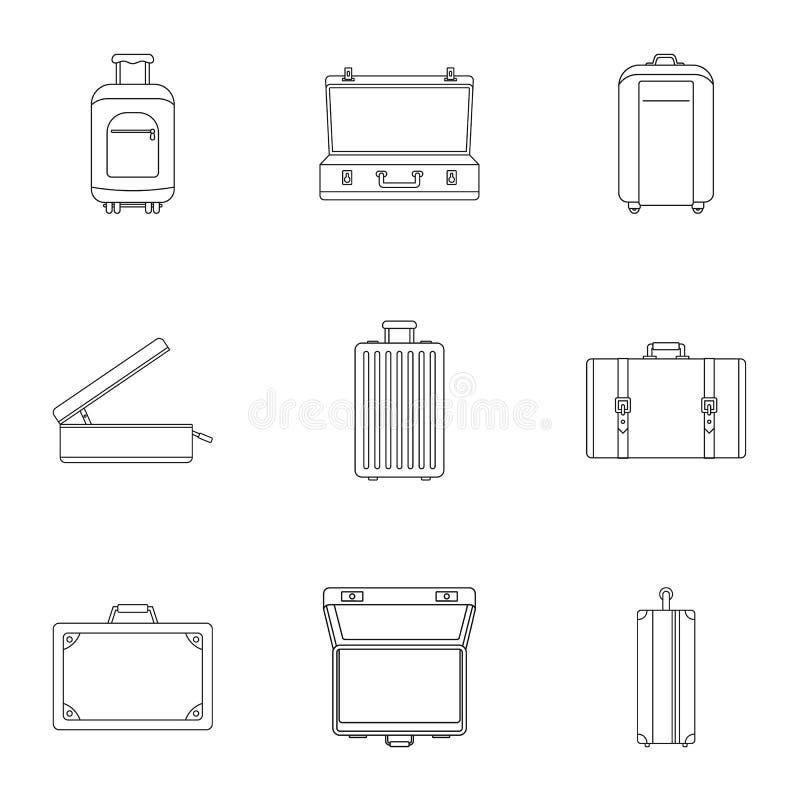 Uppsättning för loppresväskasymbol, översiktsstil royaltyfri illustrationer