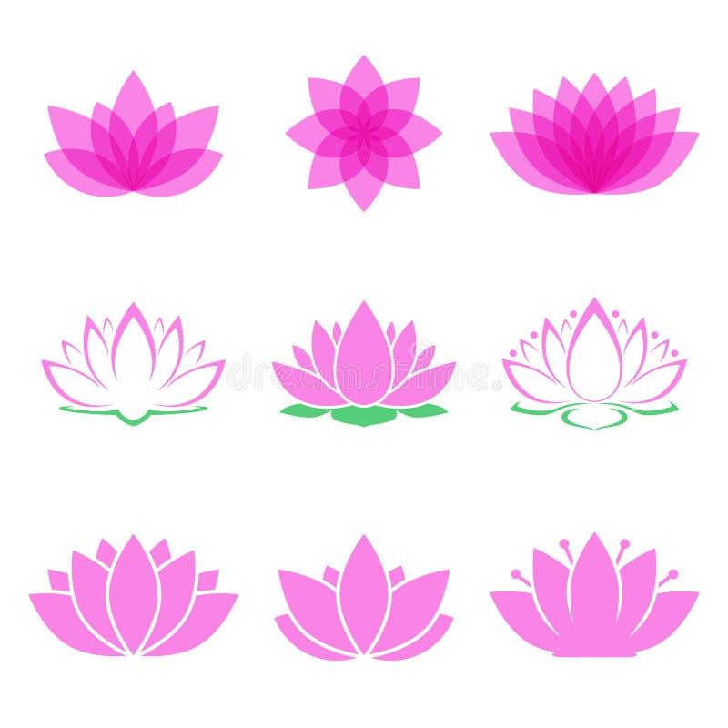 Uppsättning för Lotus blomma royaltyfri illustrationer