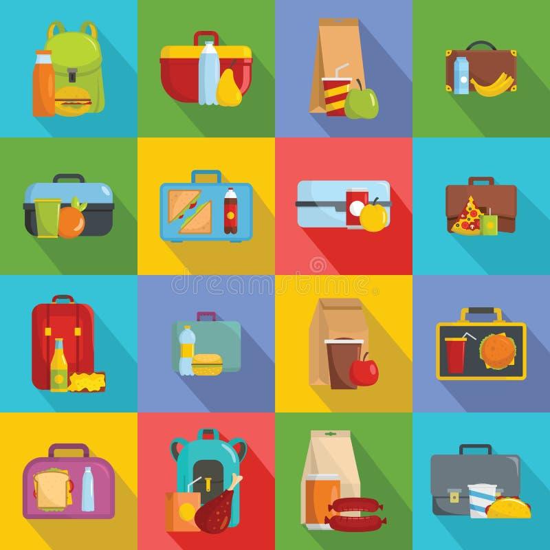 Uppsättning för Lunchboxmatsymboler, lägenhetstil vektor illustrationer