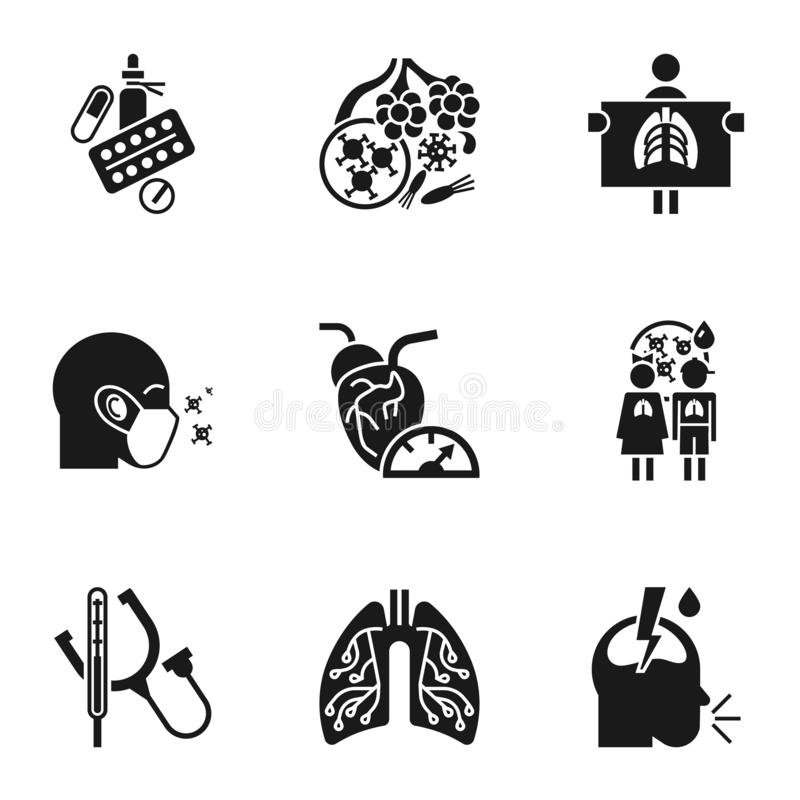 Uppsättning för lunginflammationsjukdomsymbol, enkel stil royaltyfri illustrationer
