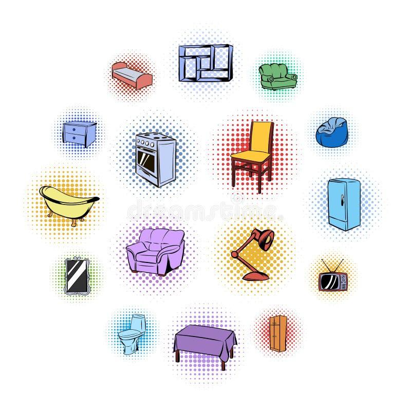 Uppsättning för möblemangkomikersymboler stock illustrationer