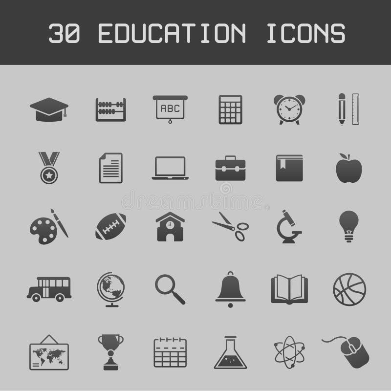 Utbildningssymbolsuppsättning stock illustrationer