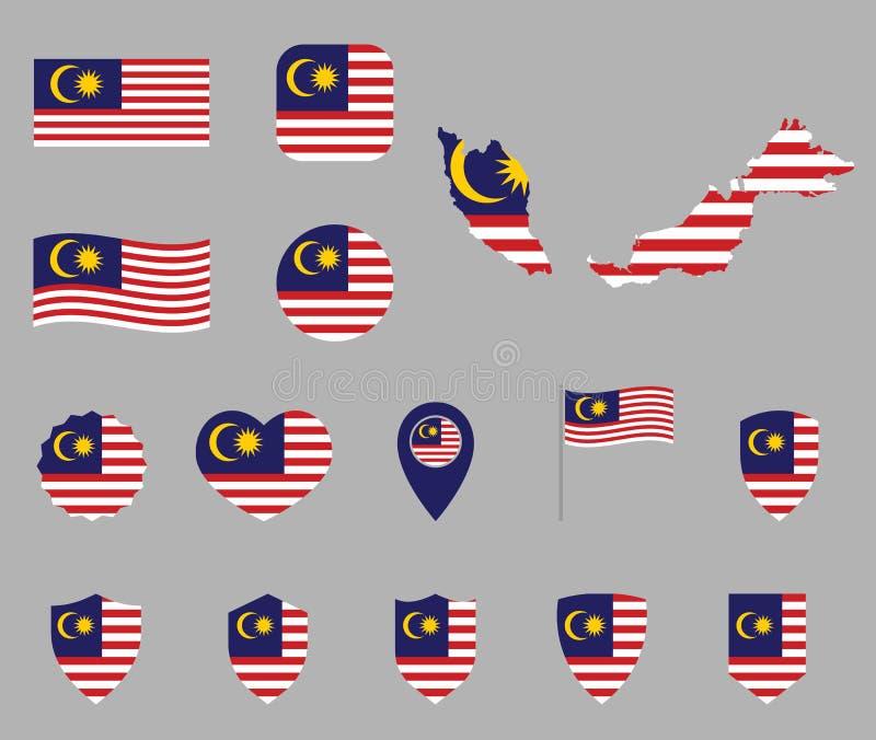 Uppsättning för Malaysia flaggasymboler, symboler av flaggan av Malaysia royaltyfri illustrationer