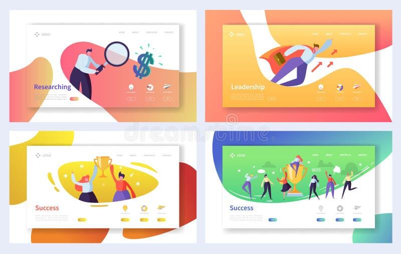 Uppsättning för mall för affärslandningsida Tecken för affärsfolk som forskar, ledarskap, framgångbegrepp för Website vektor illustrationer