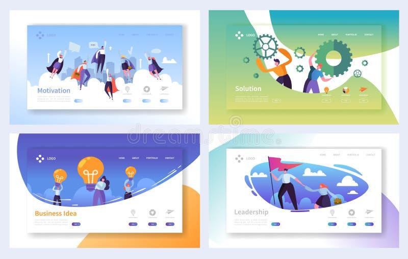 Uppsättning för mall för affärslandningsida Tecken Team Working, lösning, ledarskap, idérikt idébegrepp för affärsfolk vektor illustrationer