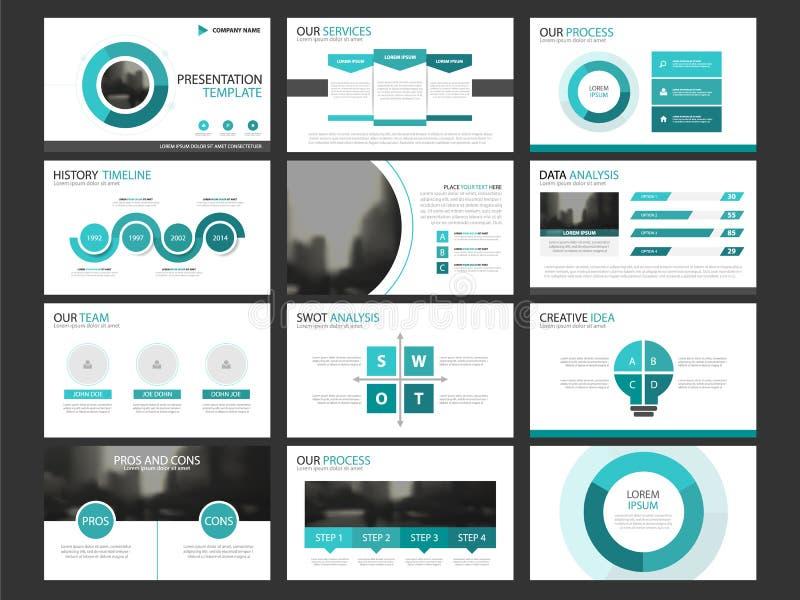 Uppsättning för mall för beståndsdelar för affärspresentation infographic, företags horisontalbroschyrdesign för årsrapport stock illustrationer